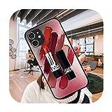 Funda de teléfono para iPhone 12 Mini 11 Pro XS MAX XR X 8 7 6S 6 Plus negro cubierta cubierta moda impermeable elegante lápiz labial chica-g10-iphone 12 mini