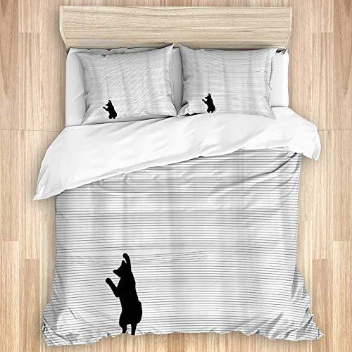 Funda nórdica, rayas blancas y negras de dibujos animados bonitos para los amantes de los gatos, gatito curioso y divertido, juego de cama de calidad con 1 funda para dejar y 2 fundas de almohada de v