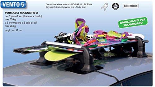GEV A8940 VENTO 5 Set di 2,  per 5 Paia di Sci (Max 35 Kg) Oppure 2 Snowboard e 2 Paia di Sci (Max 28 Kg)