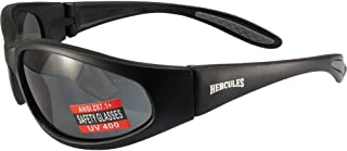 نظارات أمان للصغار من Global Vision Eyewear HERC 1 JR SM Hercules 1، عدسات دخان، إطار، أسود