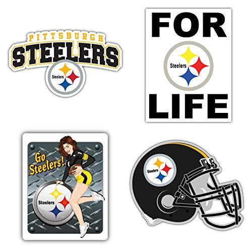 Pittsburgh City Steeler Football Logo Die-Cut Decal Sticker - Set of 4 Pieces - 5'' Longer Side