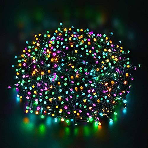 Quntis 200 LED 20m Lichterkette Außen Bunt, IP44 8 Modi Weihnachtsbeleuchtung Innen Strombetrieben, Weihnachtsdeko für Weihnachtsbaum Garten Balkon Terrasse Büsche Zimmer Fenster Wand Party Hochzeit