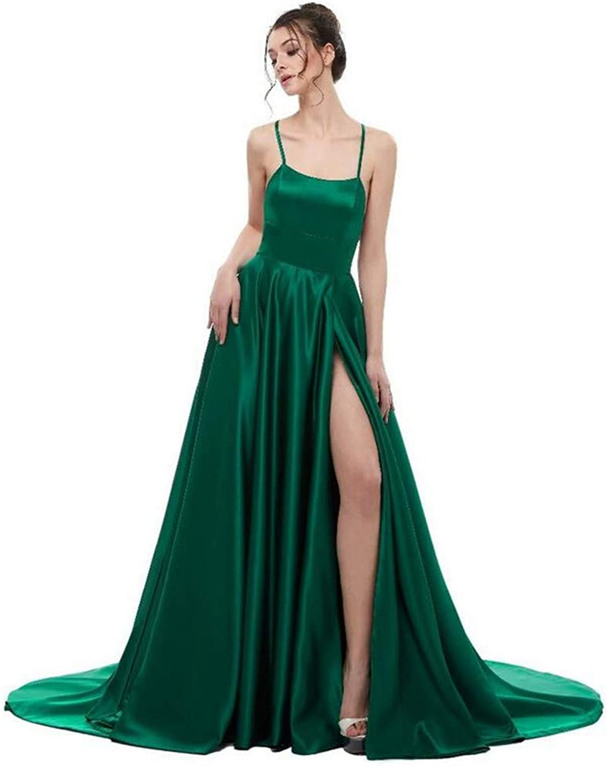 Evening Dress, Europe and America Sexy Green Milk Silk Hanging Sleeveless Open Back Host Long Section Dinner Party Dress