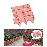 Zenyoumei 8/16 Piezas Cerca de jardín de plástico, Cerca de césped de jardín de Efecto adoquín Utilizado para la decoración de jardín de Bricolaje. (26cm * 21.5cm) (8 Pcs, Red)