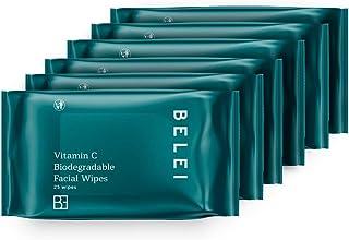 Amazon-merk - Belei - Gezichtsdoekjes met vitamine C, biologisch afbreekbaar, 6 x 25 doekjes (150 doekjes in totaal)
