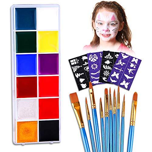 Vegena Kinderschminke Set,Hochwertiges 12 Schminkfarben Face Paint mit 40 Malerschablonen,10 Pinsel...