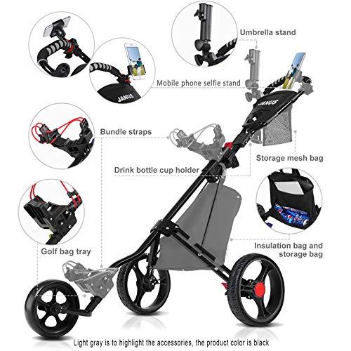 JANUS Golf Push Cart, Golf cart for Golf Clubs, Golf Pull cart for Golf Bag, Golf Push carts 3 Wheel Folding, Golf Accessories for Men Women/Kids Practice and Game