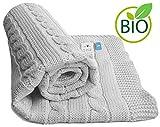 Wallaboo Babydecke Noa, Kuscheldecke aus Zopfstrick, Strickdecke aus 100% Bio Baumwolle, 70 x 90 cm, Made in germany, Farbe: Silber