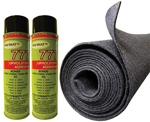 "Polymat 2 cans 12 oz ea 777 Glue+ 16ft X 45"" W Charcoal Grey Speaker Box Carpet Truck Car Trunk Liner, Dash Cover, Home Wall Decor"