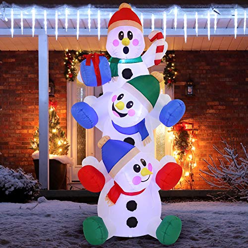 6 FT Snowman Inflatable with Build-in LEDs Blow Up Inflatables for Xmas Party, Home Indoor Outdoor Yard Garden Lawn Winter Decor.