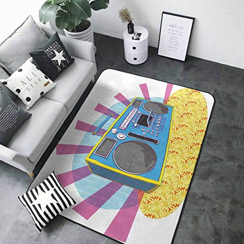Kids Bedroom Mats Decorative 70s Party Decorations,Retro Boom Box in Pop Art Manner Dance Music Colorful Composition,Multicolor 84 x 60 in Best Floor mats