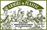 WWI British Lancers in O.D. Green Uniform (5 Mounted) 1-32 Armies in Plastic