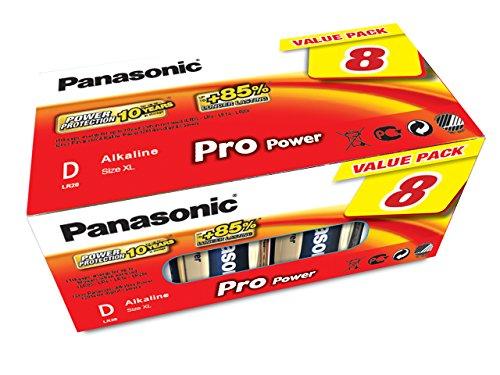 Panasonic LR20PPG/8BB Pro Power Alkaline Batterie, D - Mono - LR20, 8er Pack Gold