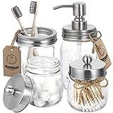 Mason Jar Bathroom Accessories Set 4 Pcs - Mason Jar Soap Dispenser & 2 Apothecary Jars & Toothbrush Holder - Rustic Farmhouse Decor, Bathroom Home Decor Clearance Craft - Brushed Nickel (Silver)
