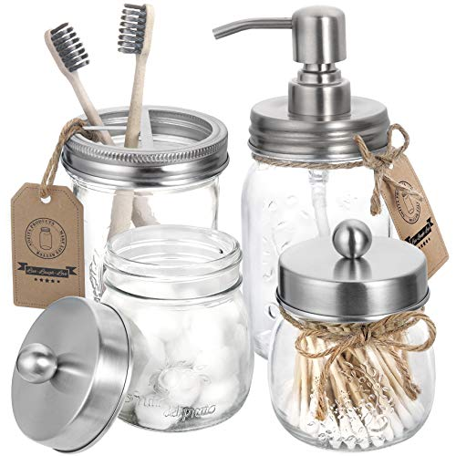 Mason Jar Bathroom Accessories Set 4 Pcs - Mason Jar Soap Dispenser & 2 Apothecary Jars & Toothbrush Holder - Rustic Farmhouse Decor, Bathroom Home Decor Clearance Craft - Brushed Nickel (Silver)