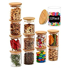 100ml Glass Jars with Bamboo Lids Silicon Ring Set of 12, Air Tight Kitchen Containers for Storage, Canister Set for Jam…