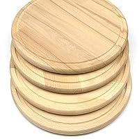 set di 4 taglieri per la colazione, per il pane, per la cucina, per il pane, per la colazione, rotondi, in legno, 24 x 1,5 cm