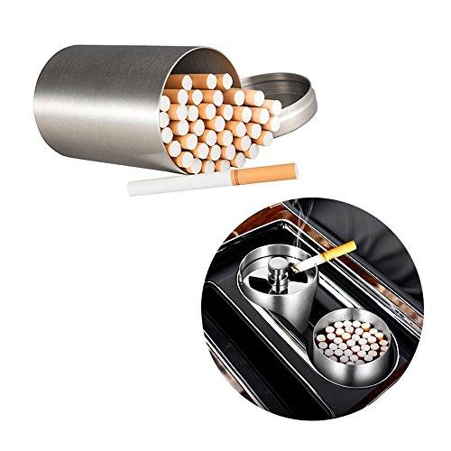 Zigarettendose, rund, Edelstahl, silberfarben