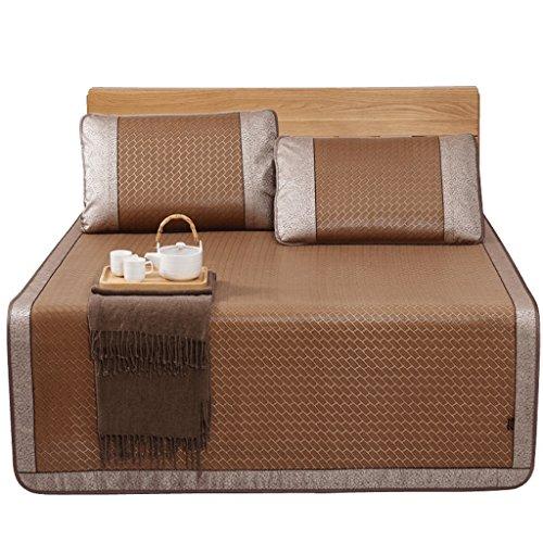 Liuyu · Tapis de climatisation 1,5 M 1,8 m épais lit de glace trois pièces sièges en rotin plié Mat unique été agréable pour la peau et confortable (avec deux taies d'oreiller en rotin)