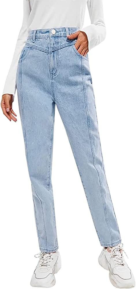 LONGYIDA Relaxed Fit Straight Leg Jeans for Women High Waisted Tapered Jeans Pants