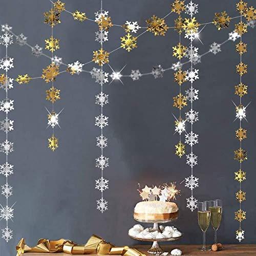 ガーランド 雪の結晶 ゴールド&シルバー クリスマス
