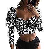 Camiseta Crop Top Mujer Estampado Leopardo Camiseta con Manga Larga Abullonadas Cuello Cuadrado Sexy Top Mujer Ajustado Ideal para Primavera, Casual, Fiesta, etc (Blanco Negro, S)