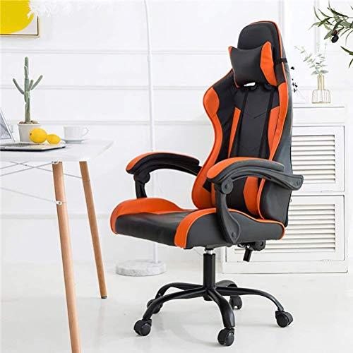 ZOUSHUAIDEDIAN Gaming-Computer Stuhl Stuhl Büro for Erwachsene Reclining Adjustable Swivel Leder Computer Stuhl High Back Bürostuhl Kopfstütze und Rückenstütze-Kissen (Color : Orange)