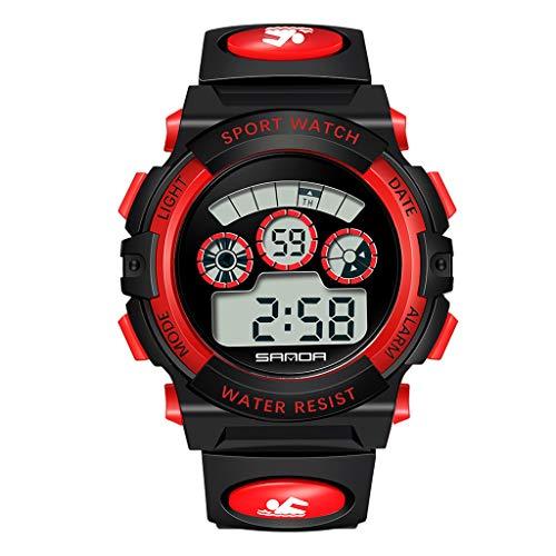 HHyyq Kinderuhren für Jungen Mädchen, Wasserdicht Outdoor Sports Digitaluhren Analog Armbanduhr mit Wecker Timer Licht Elektronische Stoßfest Handgelenk Uhr für Jugendliche Kinderuhren(rot)