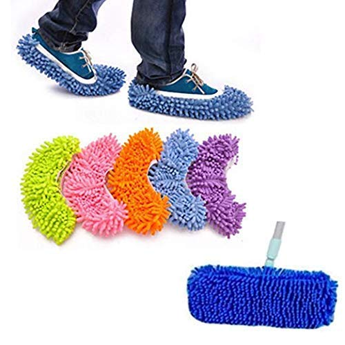 Yueiehe 5 Pairs (10 Pieces) Multi-Function Dust Duster Mop Slippers Shoes Cover, Soft Washable Reusable Microfiber Foot Socks Floor Cleaning Tools Shoe Cover