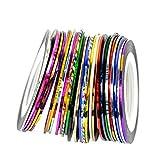 Lot de 30Couleurs mélangées Décoration Art Rouleaux de ruban adhésif Ligne Striping à ongles autocollant