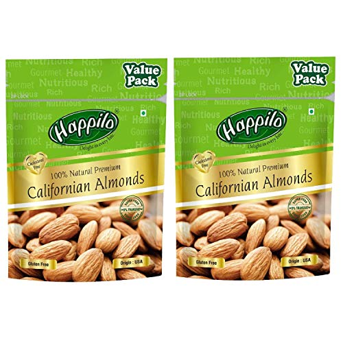 Happilo 100% Natural Premium Californian Almonds Super Value Pack Pouch, 2 x 500