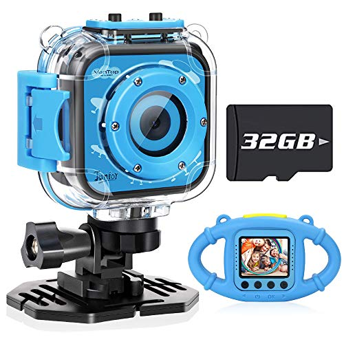 VanTop Junior K3 Kids Camera, 1080P Supported Waterproof Video Camera w/ 32Gb Memory Card, Extra Kid-Proof Silicon Case, Card Reader, Lanyard, Carrying Bag