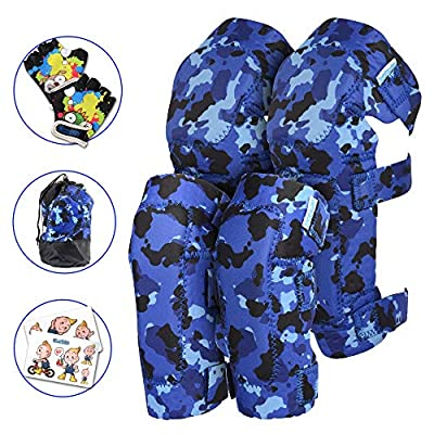 Innovative Soft Kids Knee and Elbow Pads with Bike Gloves I Toddler Protective Gear Set I Bike, Roller-Skating, Skateboard Knee Pads for Kids ((2nd Gen) OceanCamo, Medium (4-8 Years))