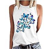 Camiseta de tirantes para mujer, informal, con estampado de mariposas, sin mangas, con cuello redondo, para mujer, color blanco, gris y negro Blanco L