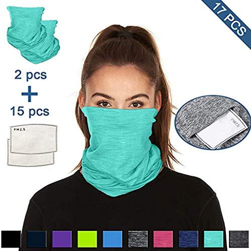 Lomelomme 2 Stück Face Shields Halstuch Multifunktionstuch Baumwolle Mundschutz Schlauchtuch Bandana mit 15 Stück Baumwolle Filter Damen und Herren (Sky Blue, 38X24cm)