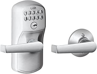 Schlage FE575 PLY 626 ELA Plymouth Keypad Entry with Auto-Lock and Elan Levers, Brushed Chrome (Renewed)