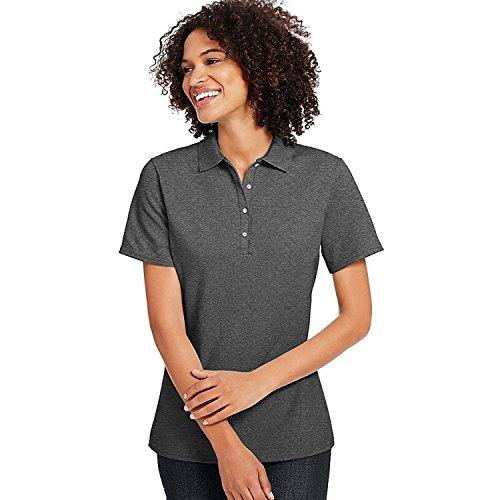 Hanes X-Temp Women's Pique Polo Shirt Charcoal Heather