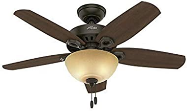 "Hunter Fan Company 52218 Builder Small Room New Bronze Ceiling Fan With Light, 42"", Pwt, Nckl, B/S, Slvr"