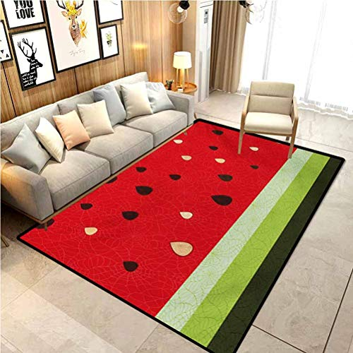 Nature Modern Soft Rug Pad Macro Watermelon Pattern Fresh Ripe Organic Fruit Seeds Cute Artsy Illustration for Home Kids Bedroom Dormitory Decor Chair Cover Seat Pad Red Green Black 6.5 x 9.8 Ft