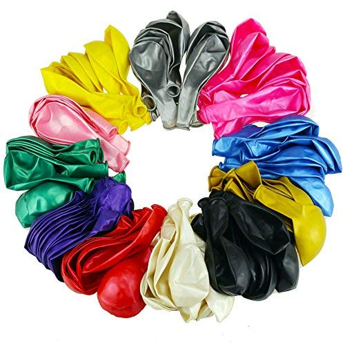 "DLOnline 120 Pack Party Favors 12"" 2.8g Thickened Color Latex Helium Party Balloons, Suit Well To Any Occasion, 12 Colors"