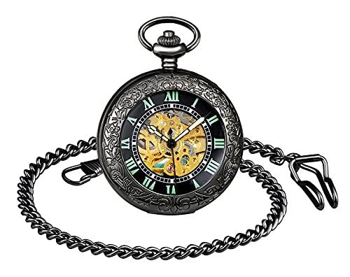 SUPBRO Reloj de bolsillo para hombre y mujer, estilo retro, mecánico, luminoso, automático, con cadena