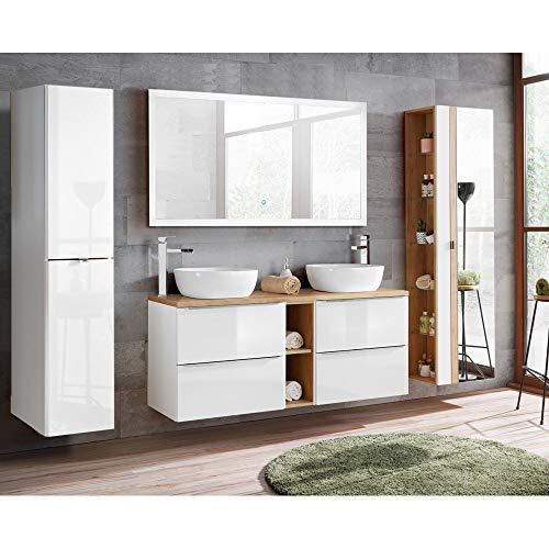 Lomadox Badezimmer Set weiß Hochglanz mit Keramik-Doppel-Waschtisch TOSKANA-56 LED-Touch-Spiegel, BxHxT ca. 260/190/48cm