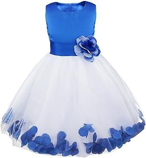 58c691e2d Freebily Vestidos Verano de Niñas Blanco Elegante Boda Fiesta Bautizo Flor  Disfraz de Princesa con Flores