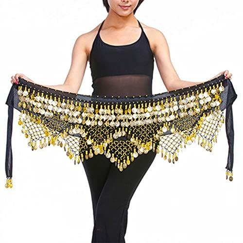 WEIJ Barriga Danza Cintura Cadena Gypsophila Cintura Bufanda Escaramujo Toalla Indio Danza Disfraz Sagú Cinturón con Oro Monedas Faldas (Color : Black - Gold)