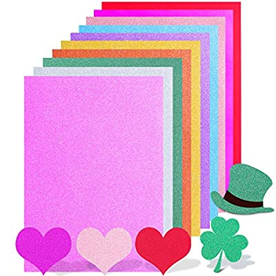 30 Sheet Glitter Paper A4 Size Colorful Sparkles Self Adhesive Sticky Craft Paper for DIY Valentine's Day Party Supplies Scrapbooking Gift Box Wrapping, 10 Colors