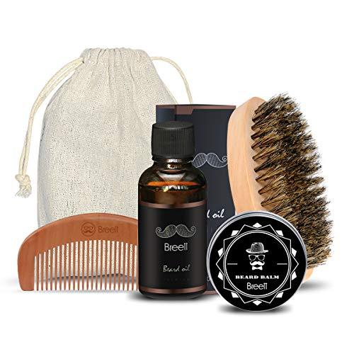 Kit Cuidado de Barba 4 pcs,Breett Cepillo Para Barba, Peine Para Barba