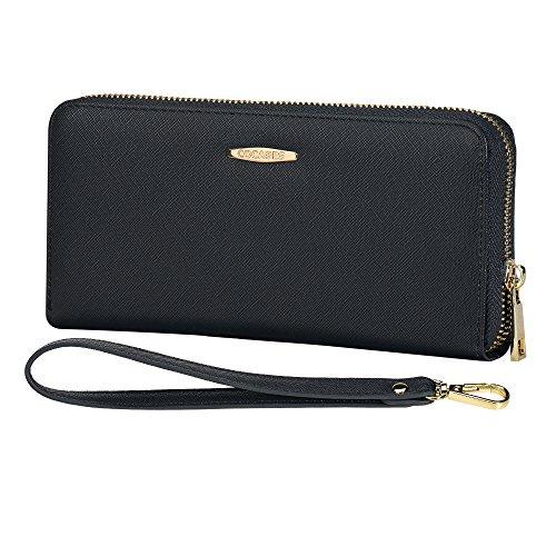 COCASES Damen Geldbörse XXL Größe aus weichem Kunstleder mit RFID Schutz und Schlaufe Schwarz