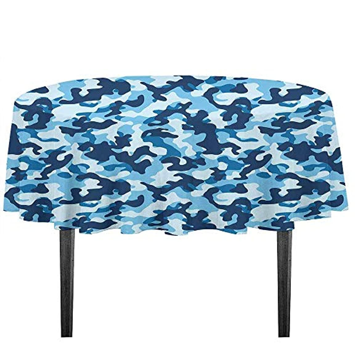kangkaishi Camouflage Waterproof Anti-Wrinkle no Pollution Costume Pattern with Vibrant Color Palette Abstract Composition Concealment Table Cloth D59.05 Inch Blue Coconut