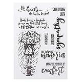 Fafalloagrron PVC-Stempel, Motiv: Regentag, Mädchen, ausgefallene Schriftmuster, DIY, Scrapbook, Fotoalbum, Karte, Tagebuch, Dekoration, englische Buchstaben