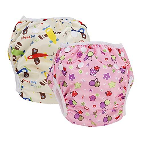 2-teilig Baby Schwimmhose für 0-36 Monate,Baby Schwimmwindel Wiederverwendbar Verstellbarer Badehose Badewindelhose Rosa + Gelb